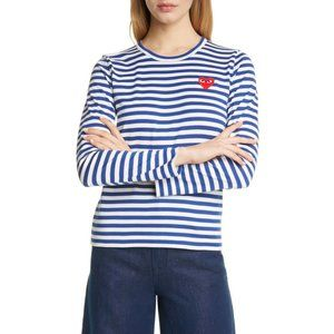 Comme des Garcons Play Blue Stripe Long Sleeve Top